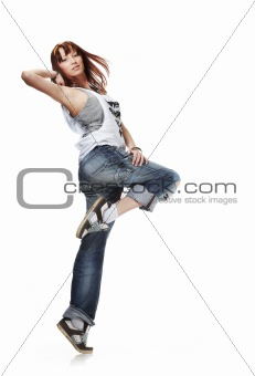 Cute Young woman dancing isolated on white background