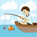 Boy Fishing In A Boat