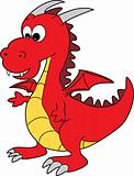 Cute Red Cartoon Happy Dragon Character