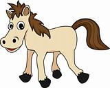 cute happy looking cartoon brown horse
