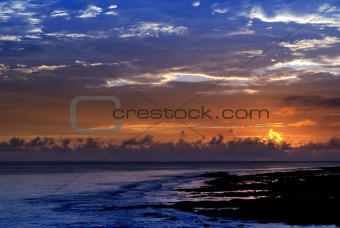 beautiful sunset in the ocean