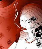 Smoking noblewoman