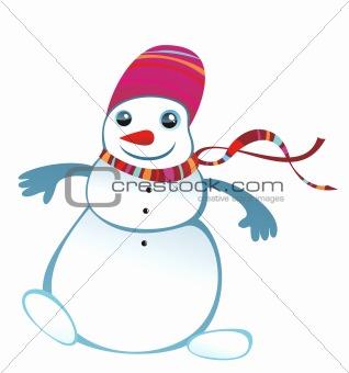 Skiing snowwoman