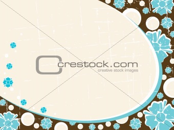 Grungy oval Retro floral background