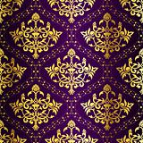 Gold-on-Purple seamless floral Indian pattern