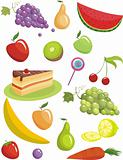 vector illustration set of a different fruits and sweeties