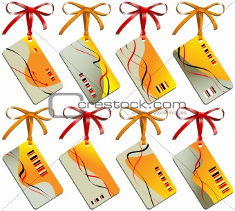 Business of card of sand color with bows