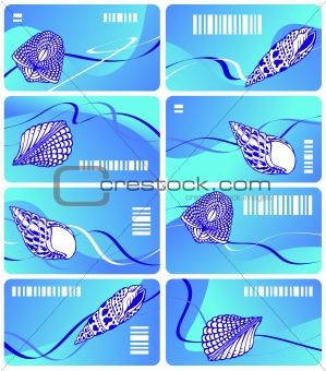 Business card of sea color with sea cockleshells