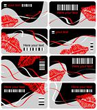 Collection from eight business cards with print of lips