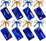 Collection from eight dark blue business  cards with bows