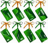 Collection from eight green business cards with bows