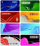Collection from eight multi-coloured business cards
