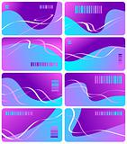 Eight business cards lilac color with bar code