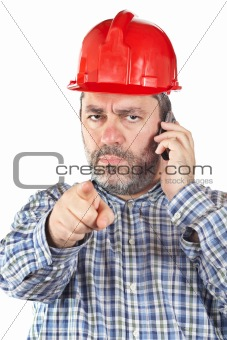 Angered construction worker