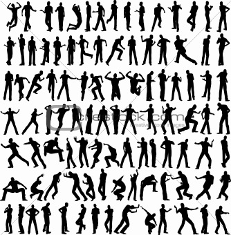 100 man vector different pose