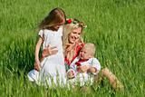 happy mother with two children outdoors