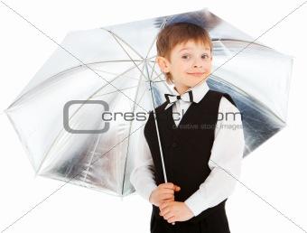 Boy under umbrella