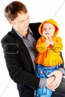 Smiley father and baby