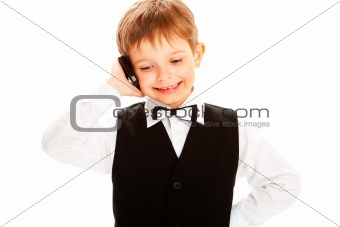 Boy talking over phone