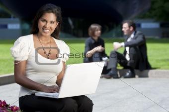 Beautiful Asian Woman on Laptop