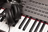 Headphones Laying on Electronic Keyboard with Narrow Depth of Fiel