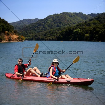 Couple kayaking