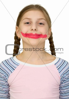 Girl with clown smile
