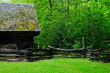 barn with wagon in front of forest