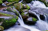 water flowing through mossy rocks