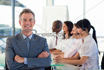 Business people working in a call centre