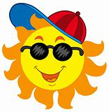 Cartoon Sun in baseball cap