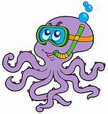 Octopus snorkel diver
