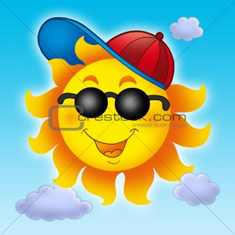 Cartoon Sun in cap on blue sky