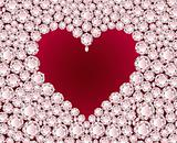 Vector red heart on diamond background