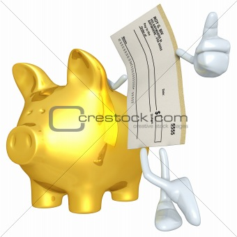 Blank Check With Gold Piggy Bank