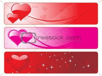 three diffrent colors heart-shape banner