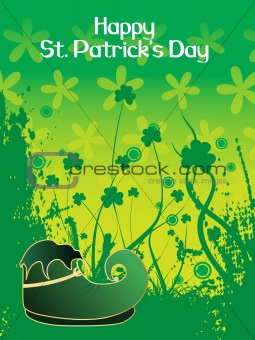grunge background with shamrock 17 march