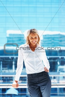 Portrait of a happy cute business woman