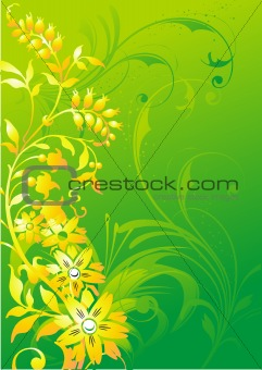 Abstract vegetative ornament on a green background