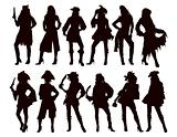 Sexy Pirate Girls Silhouettes
