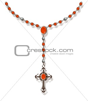 Rosary Necklace in Red