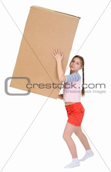 Girl with cardboard box