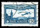 vintage French aircraft stamp from the art deco period
