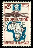 vintage French stamp depicting a black and white man shaking hands