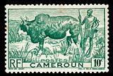 vintage stamp from cameroon depicting tribal farmer