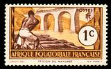 vintage stamp from Africa depicting railroad worker