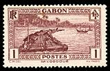 vintage African stamp from Gabon