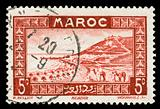 vintage stamp from Morocco depicting a traditional scenic view