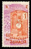 vintage stamp from Somalia depicting tribal goat herder