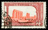 vintage stamp from Tunisia depicting Roman ruins of Carthage